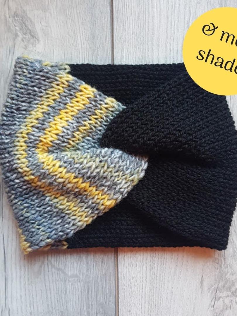 Handmade Knit Headband - Mustard Stripe