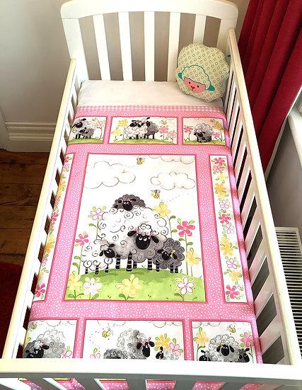 Panel  Blanket - Happy Sheep - pink