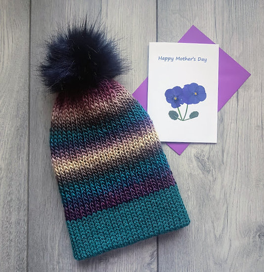 Mother's Day Gift & Card - Handmade Knit Hat - Blueberry Swirl