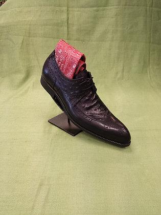 Black & Ostrich Print Shoe