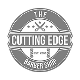 The Cutting Edge barber shop logo grey