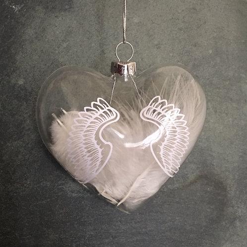 Glass heart bauble - Angel wings
