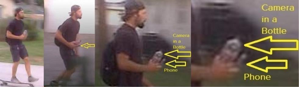 Stalker on skateboard with bottle camera