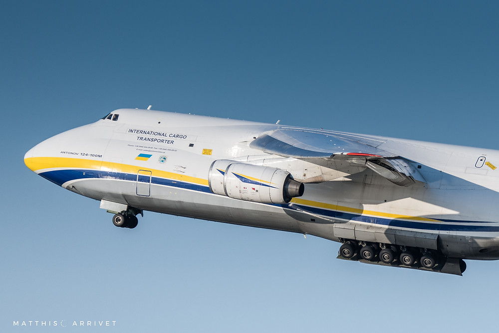 Close up of an Antonov Airlines An124 Condor Taking off in blue sky