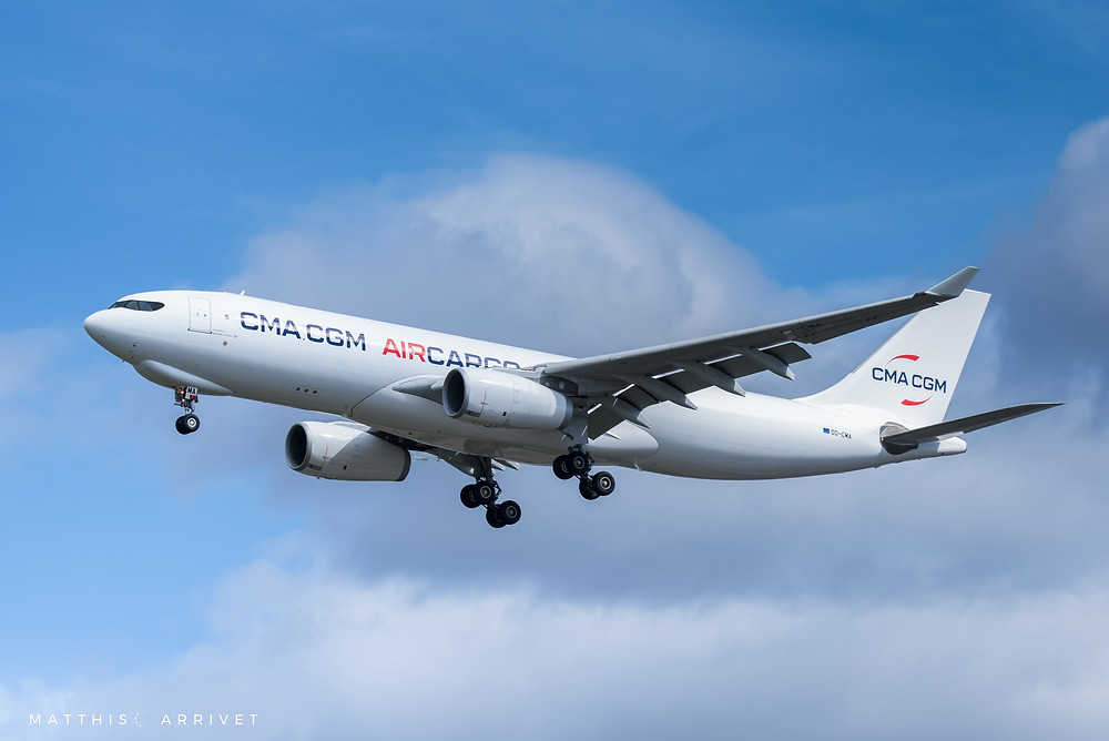 A CMA CGM A330F freighter operated by Air Belgium is landing at Marseille Airport