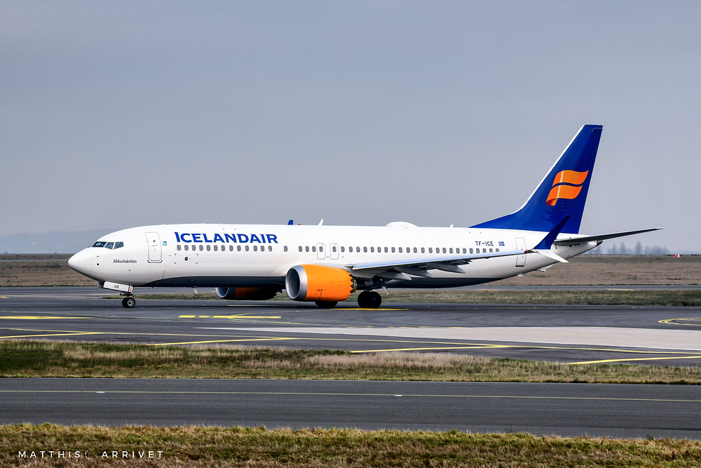 An Icelandair Boeing B737MAX 8 is taxiing on Paris CDG Airprot before the global grounding of the type