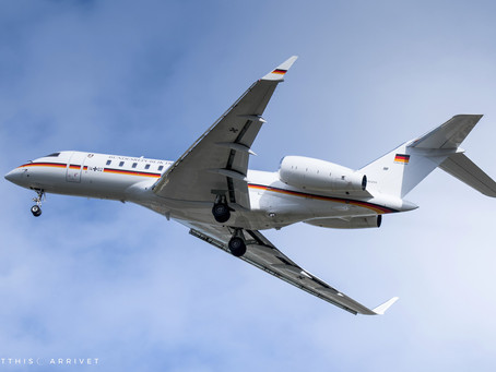Luftwaffe Bombardier Global 5000 visiting Marseille