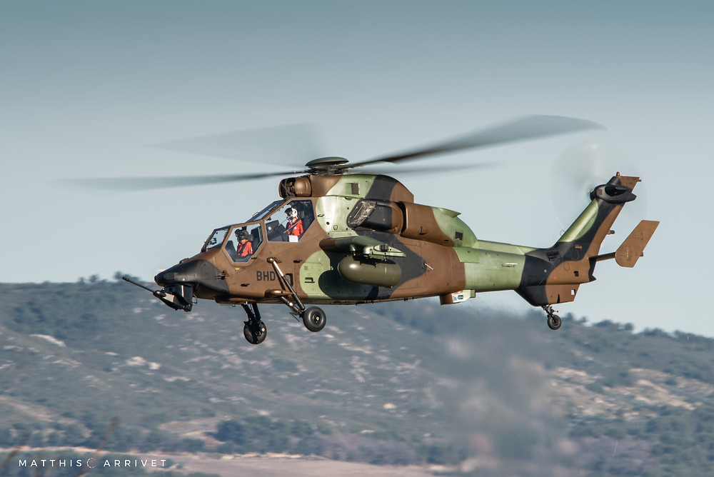 An AIrbus helilcopters EC665 Tiger attack helicopter is hovering at La Fare airfield