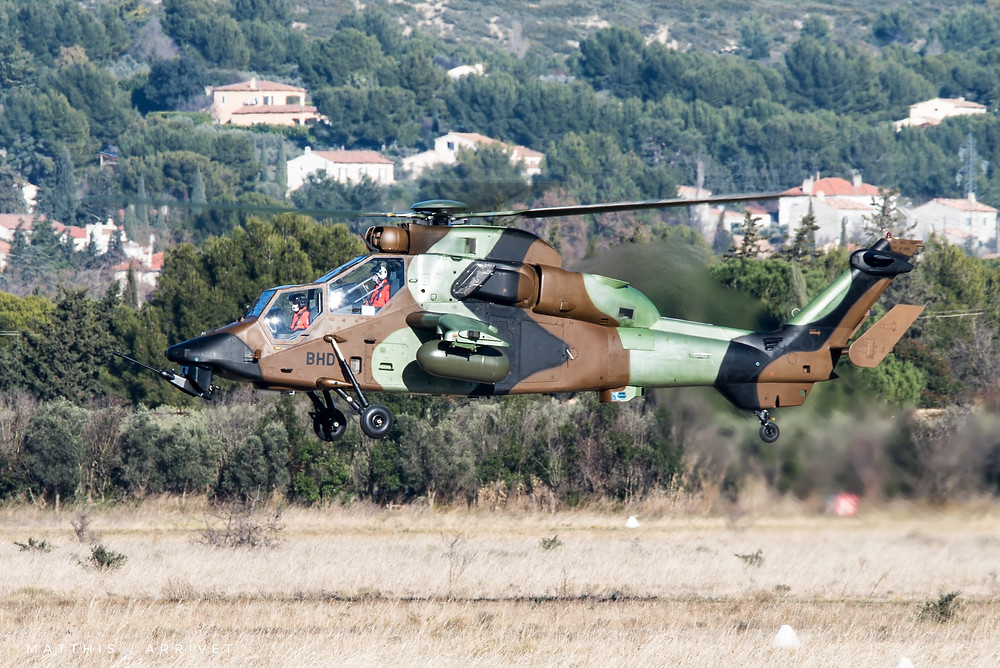 Airbus Helicopters Tiger doing a flight test at Aérodrome Berre La Fare