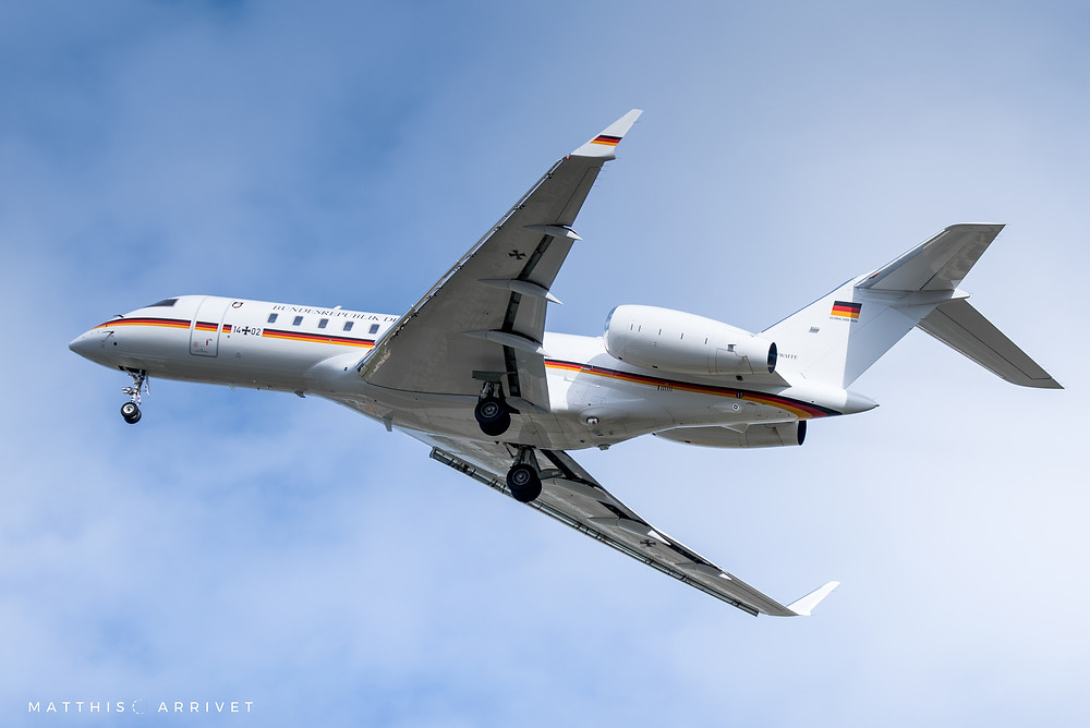 a German Air Force Bombardier Global 5000 airplane is taking off from marseille airport on a sunny and cloudy day
