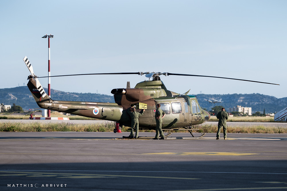 A Bell 412 Helicopter of the slovenian armed forces is on the ground of Aéroport Marseille Provence