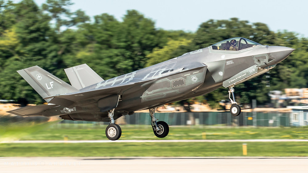 An USAF Lockheed Martin F-35A Lightning II is taking off for an airshow