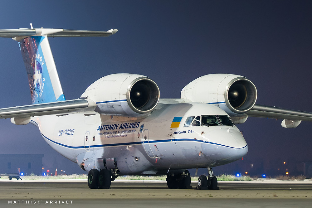 Antonov An74 UR-74010 on the parking of Marseille Airport by night