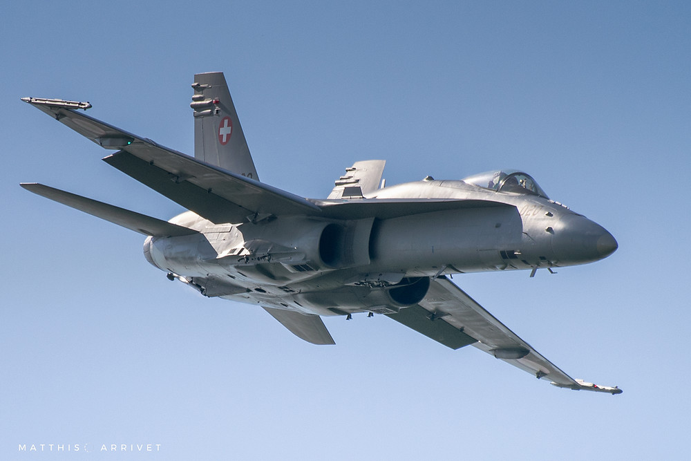 F-18 of the Swiss Air Force is doing a demonstration at Ferté Alais airshow near Parist