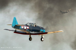 T-6 Texan landing in smoke