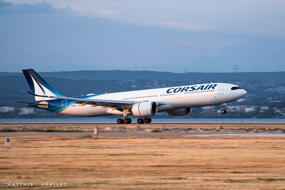 An Airbus A330-900 NEO operated by Corsair International is landing on the runway of Marseille provence Airport