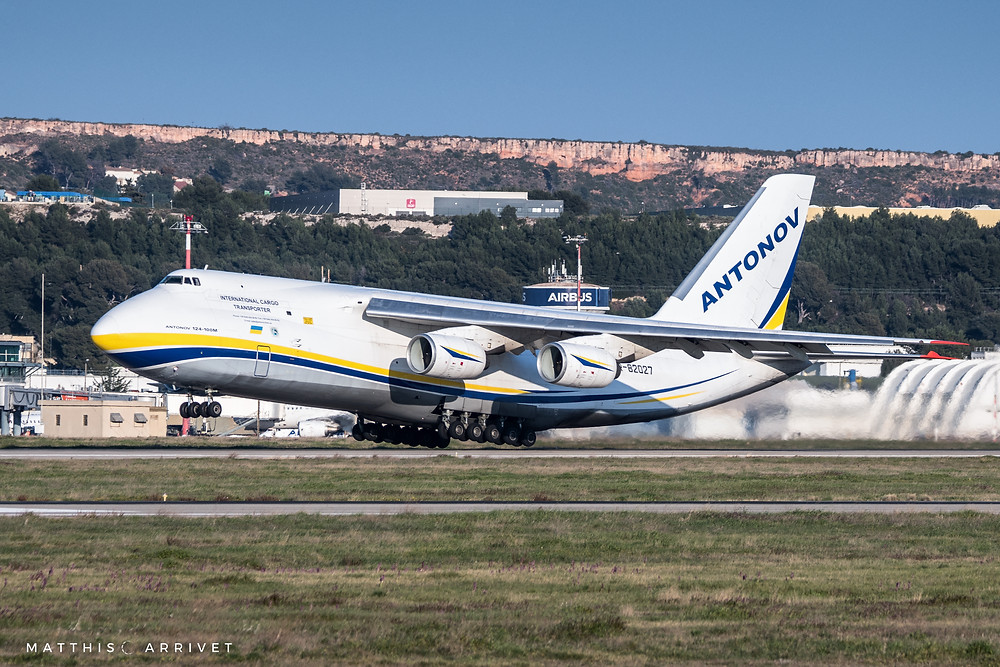 An Antonov Airlines An124 cargo plane takes off from Marseille airport to deliver helicopters