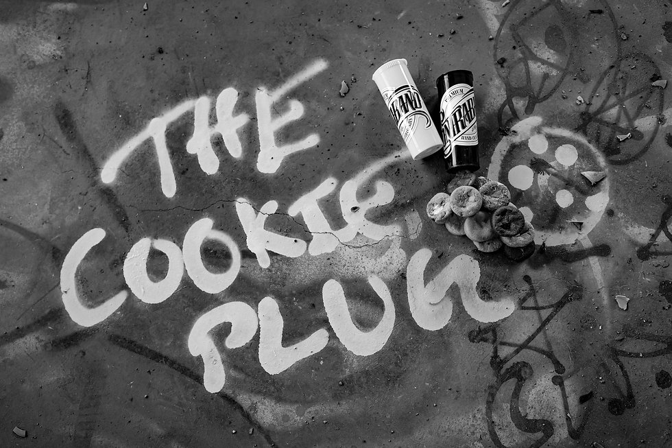 Cookie Plug Graffiti Photo with Plug Poppers in black and white