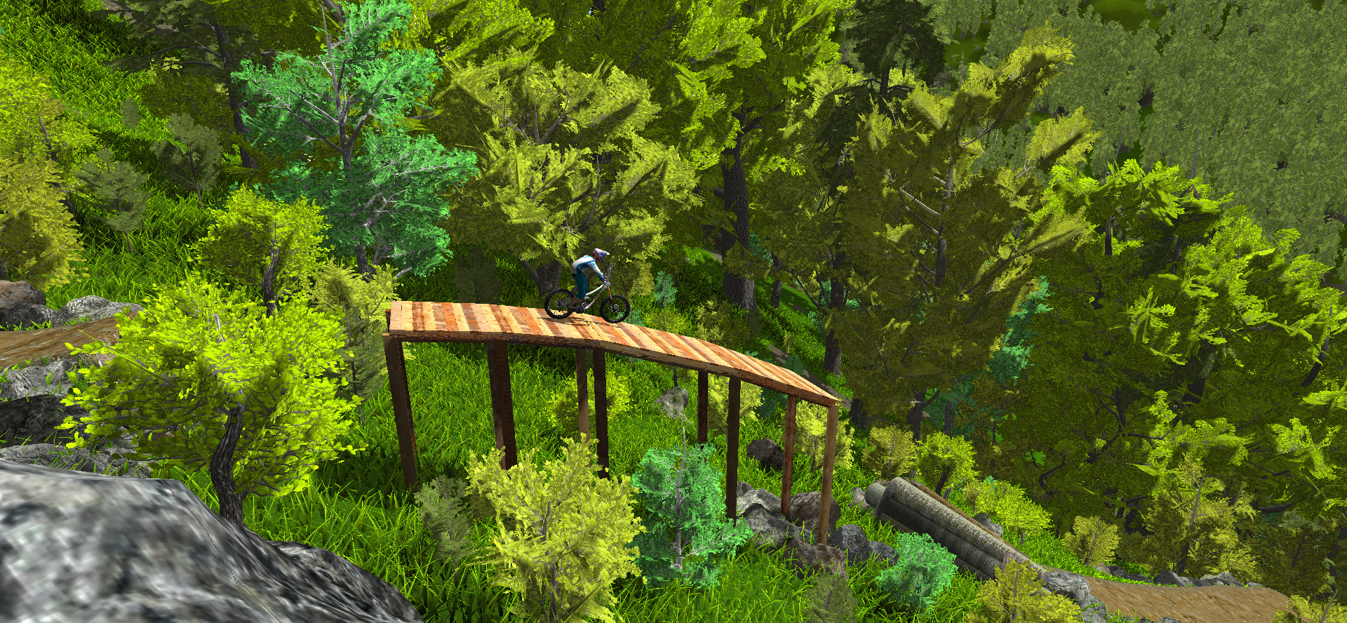 wooden jump in mtb simulator