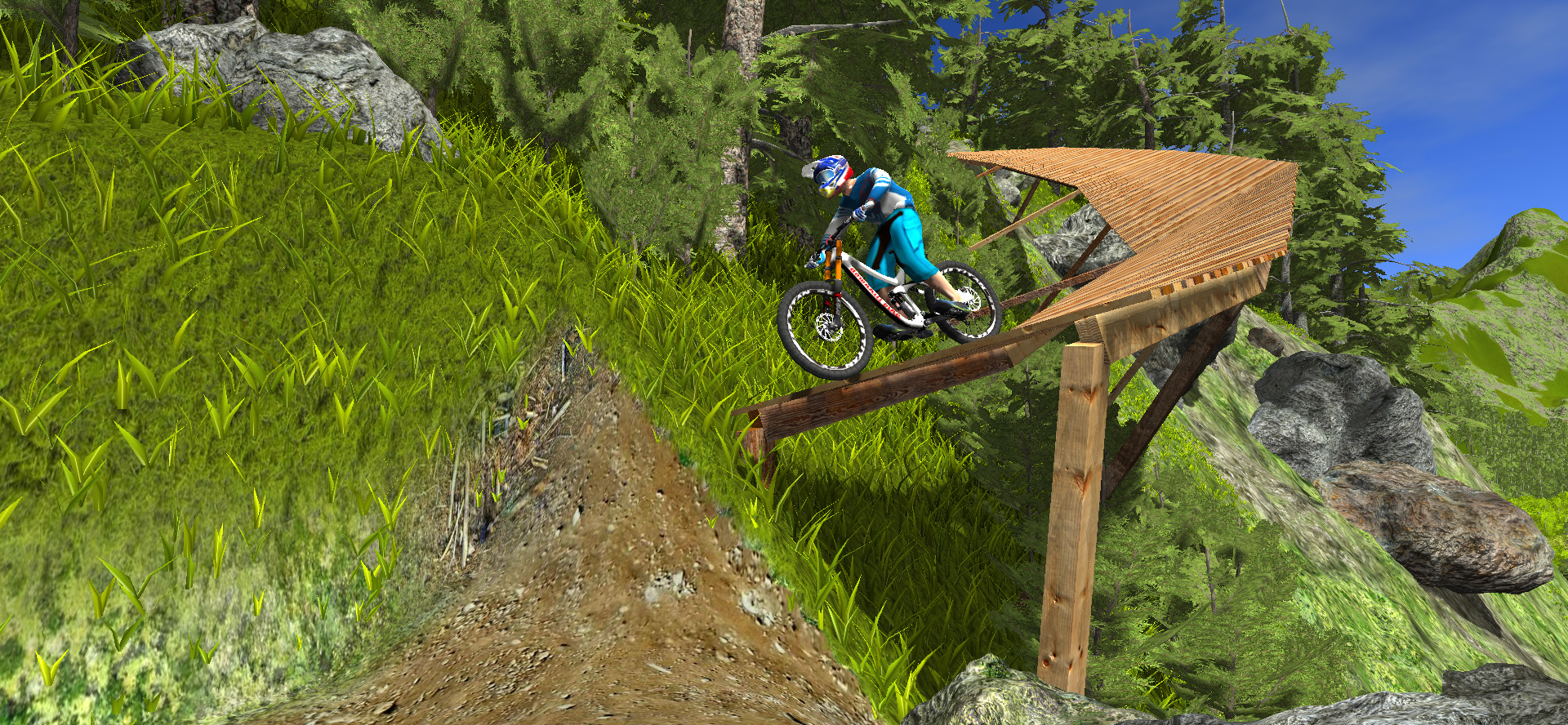 Wooden berm and drop in mtb game