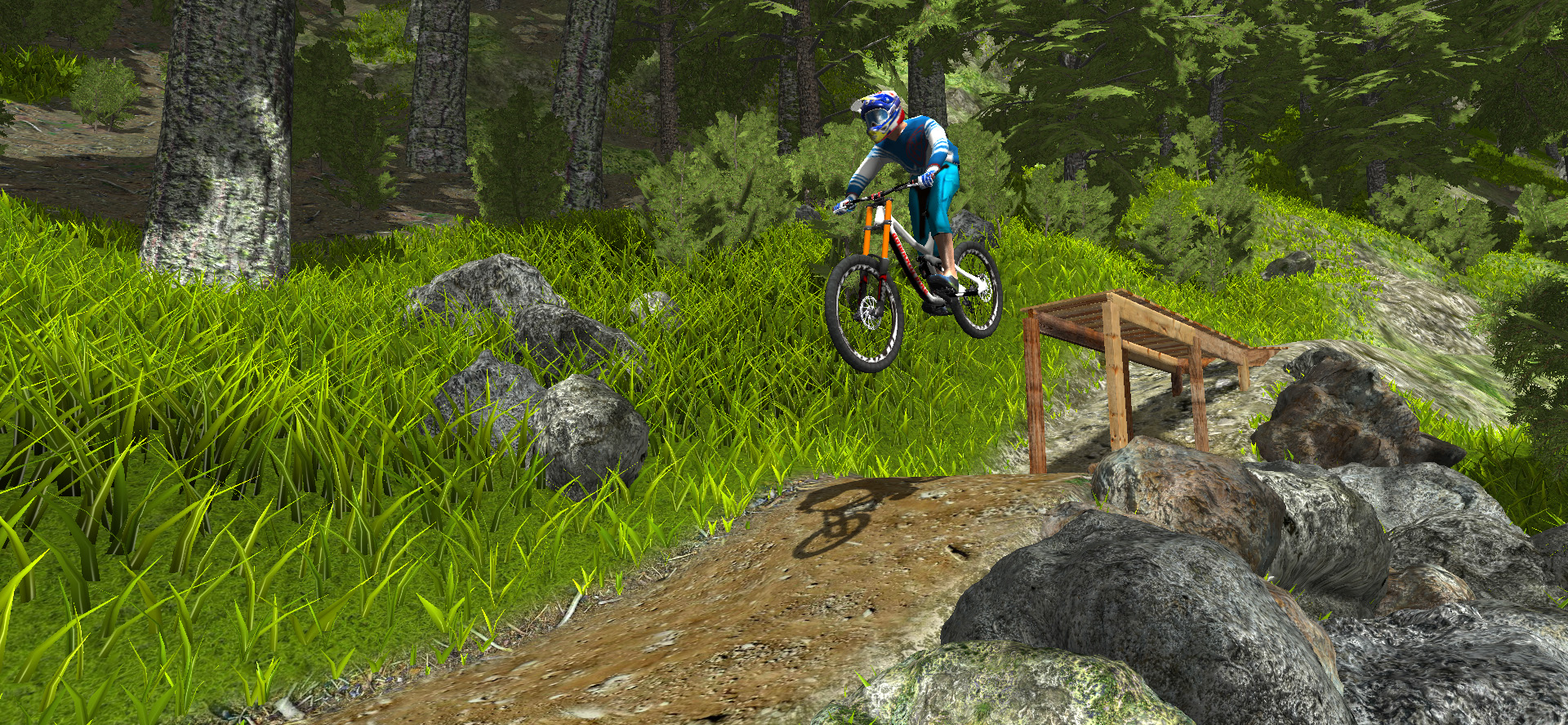 wooden drop in mountain bike game