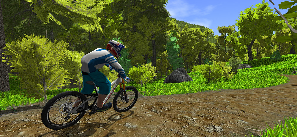 Flat turn on cross country trail in mtb simulator game