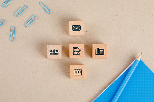office-supplies-concept-with-icons-on-wo