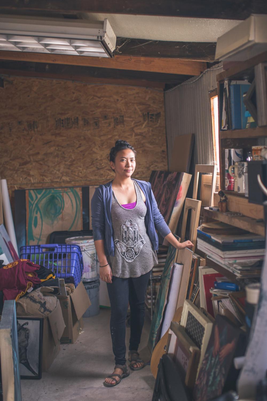 Artist Franceska Gamez in her studio