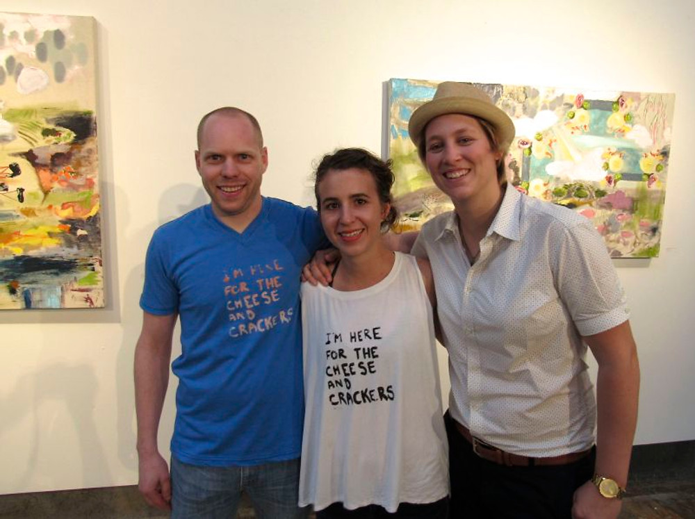 Artist Kelly O'Connell and Ben Ehrmann with gallery owner Lindsay Calmettes