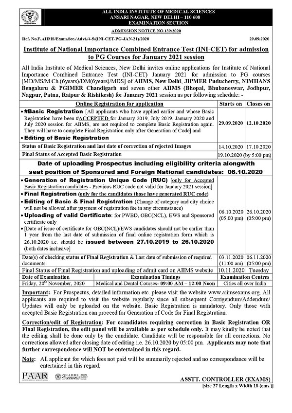 INI-CET January 2021Advertisement Notice