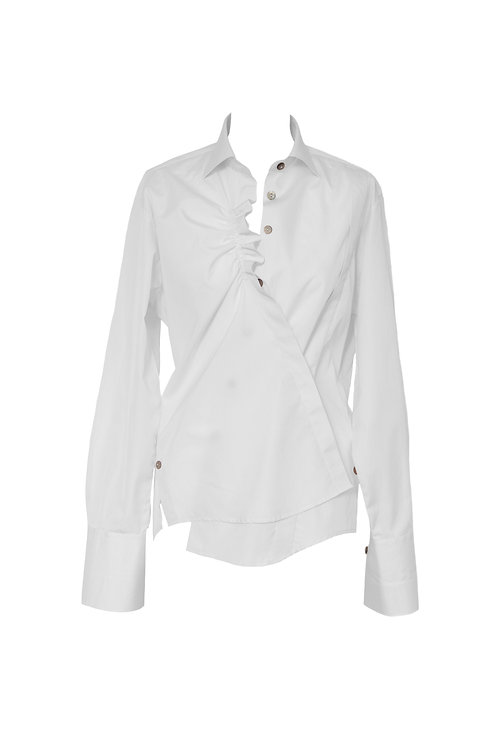 Classic twisted shirt with a ruffle