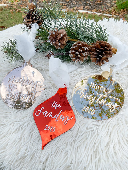 Mirror Acrylic Personalized Ornaments