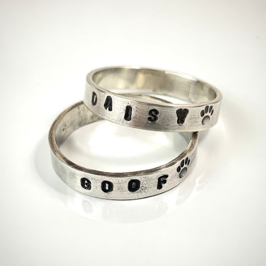 cool stacking small dot pattern amplified pattern sterling silver band textured ring stamped statement ring