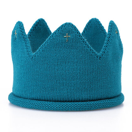 Blue knitted crown