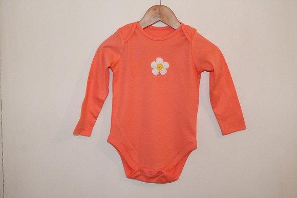 Orange daisy baby grow