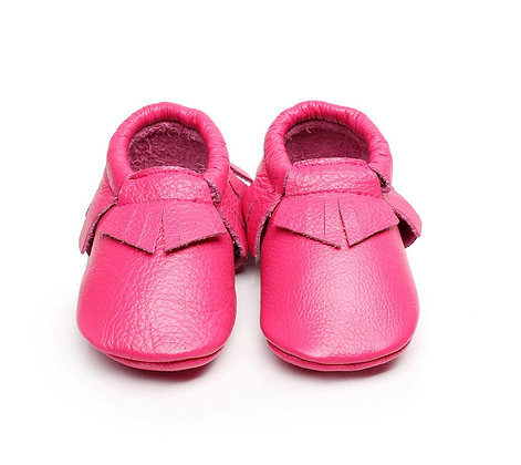 Fuchsia Pink Leather Moccasin
