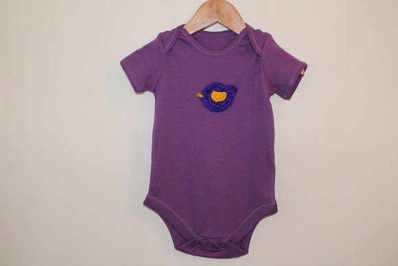 Purple bird baby grow