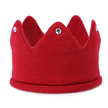 Red knitted jewelled crown