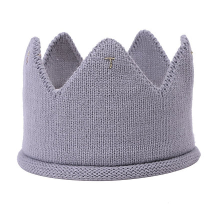 Grey knitted crown