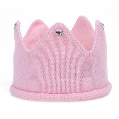 Pink jewelled knitted crown