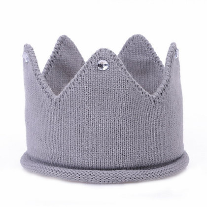Knitted grey jewelled crown