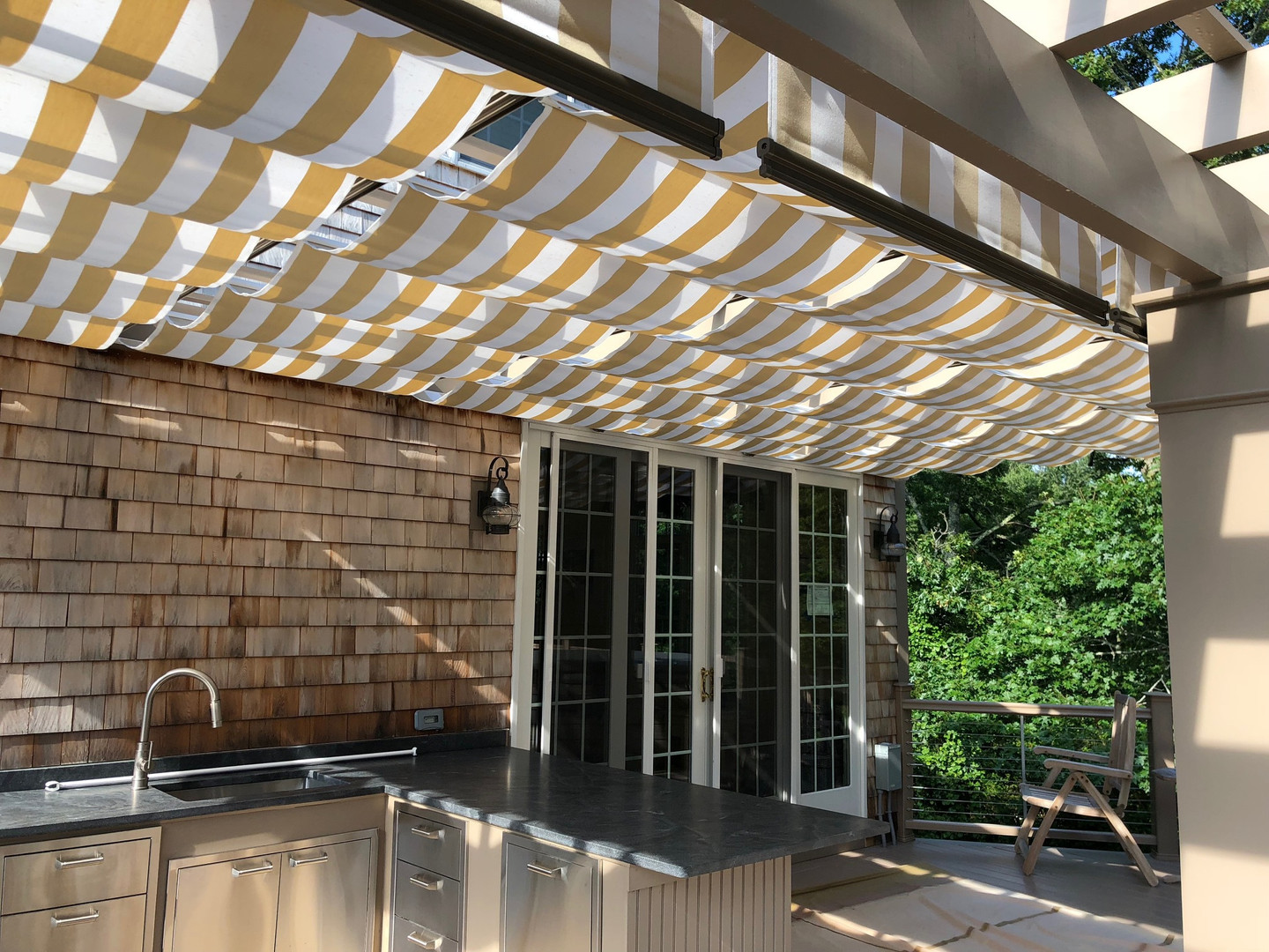 Yellow and White Canvas Awning