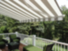 Tan and White Retractable Awning- Ocean