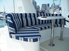 Nordhavn yacht cushions Ralph Lauren fabric