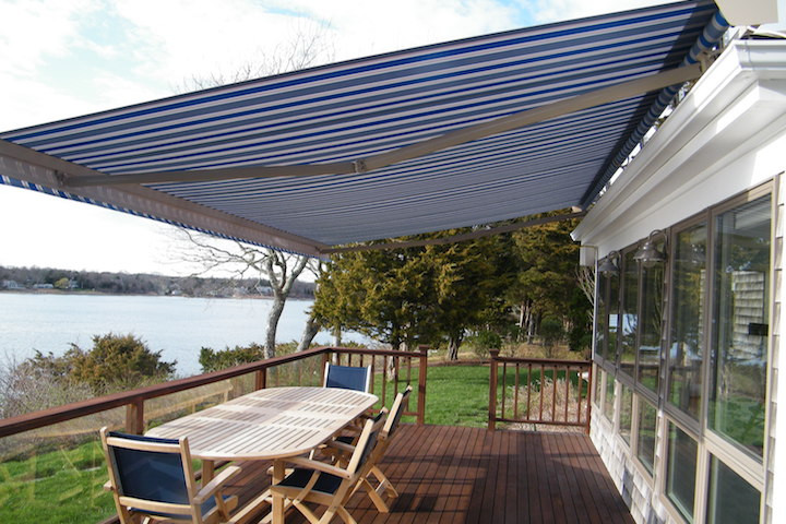 Blue and White Awning