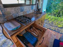 Campervan kitchen dishes
