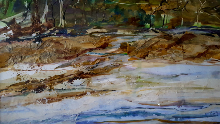 Along the Intracoastal Mixed Media Collage 20 x 30