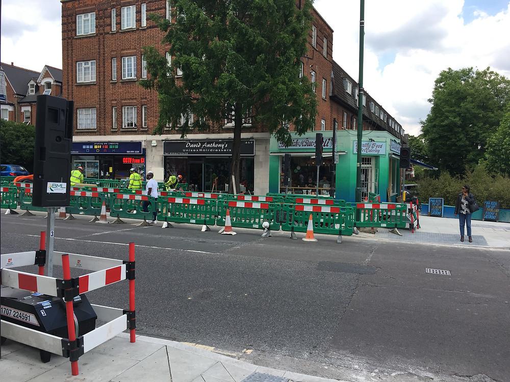 Building work at the diagonal crossing