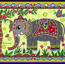 Elephant In Madhubani Style