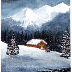 """""""The House, Trees & Mountains blanketed with snow"""""""